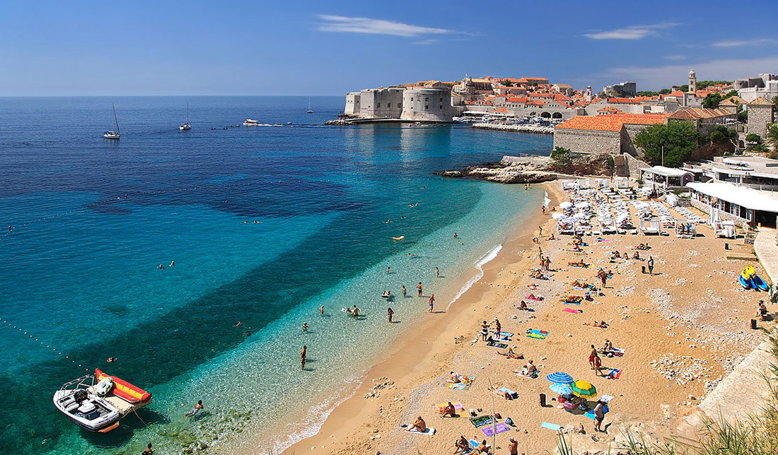 Aerial photo of famous beach banj overlooking city of Dubrovnik