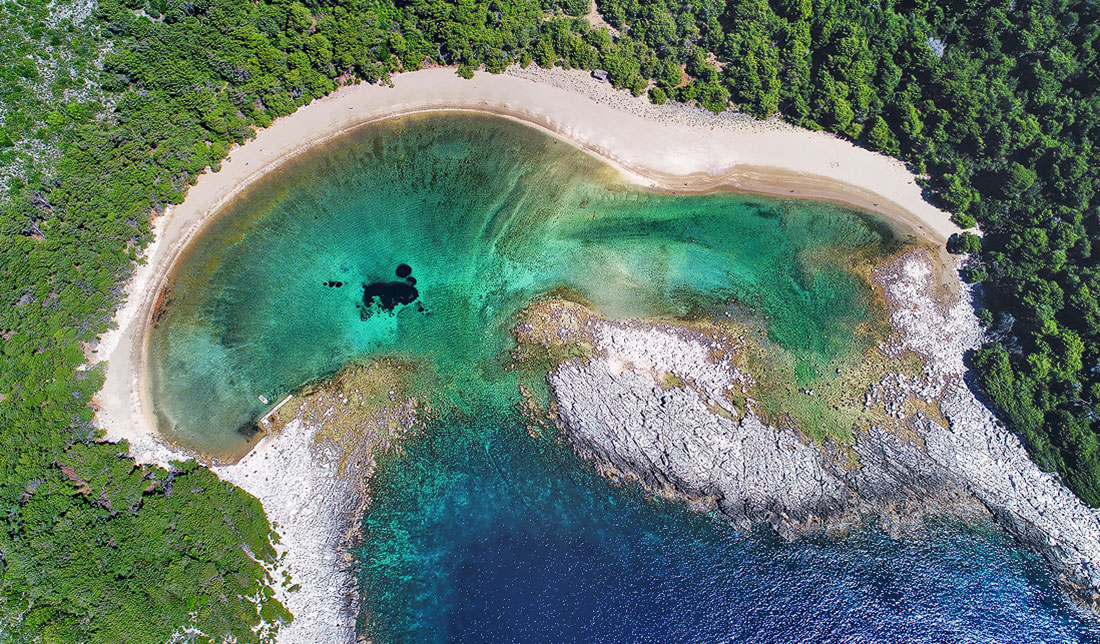 Aerial photo of a Blace sandy beach on island of Mljet, situated in a lagoon