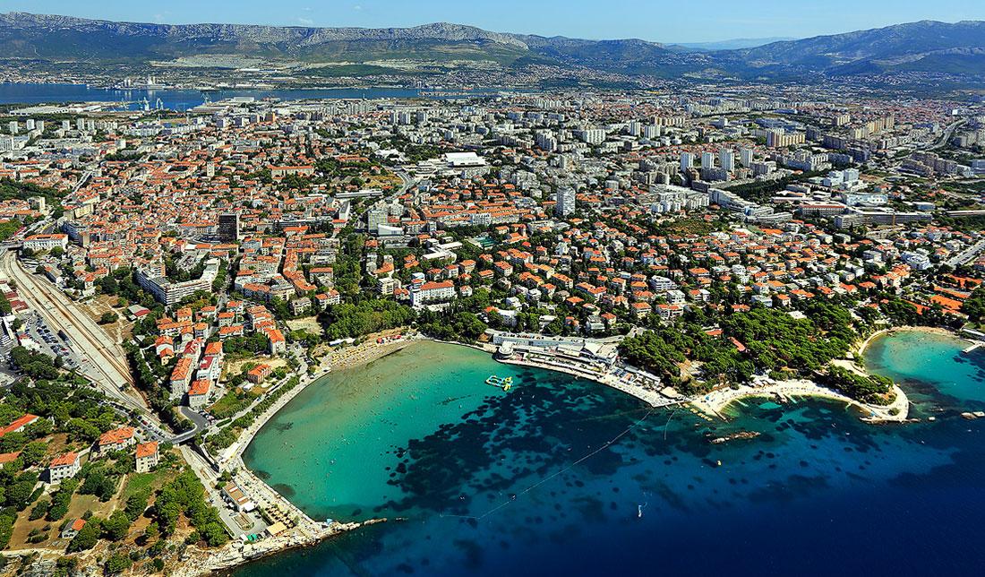 Aerial photo of Split and its famous sand beach Bačvice