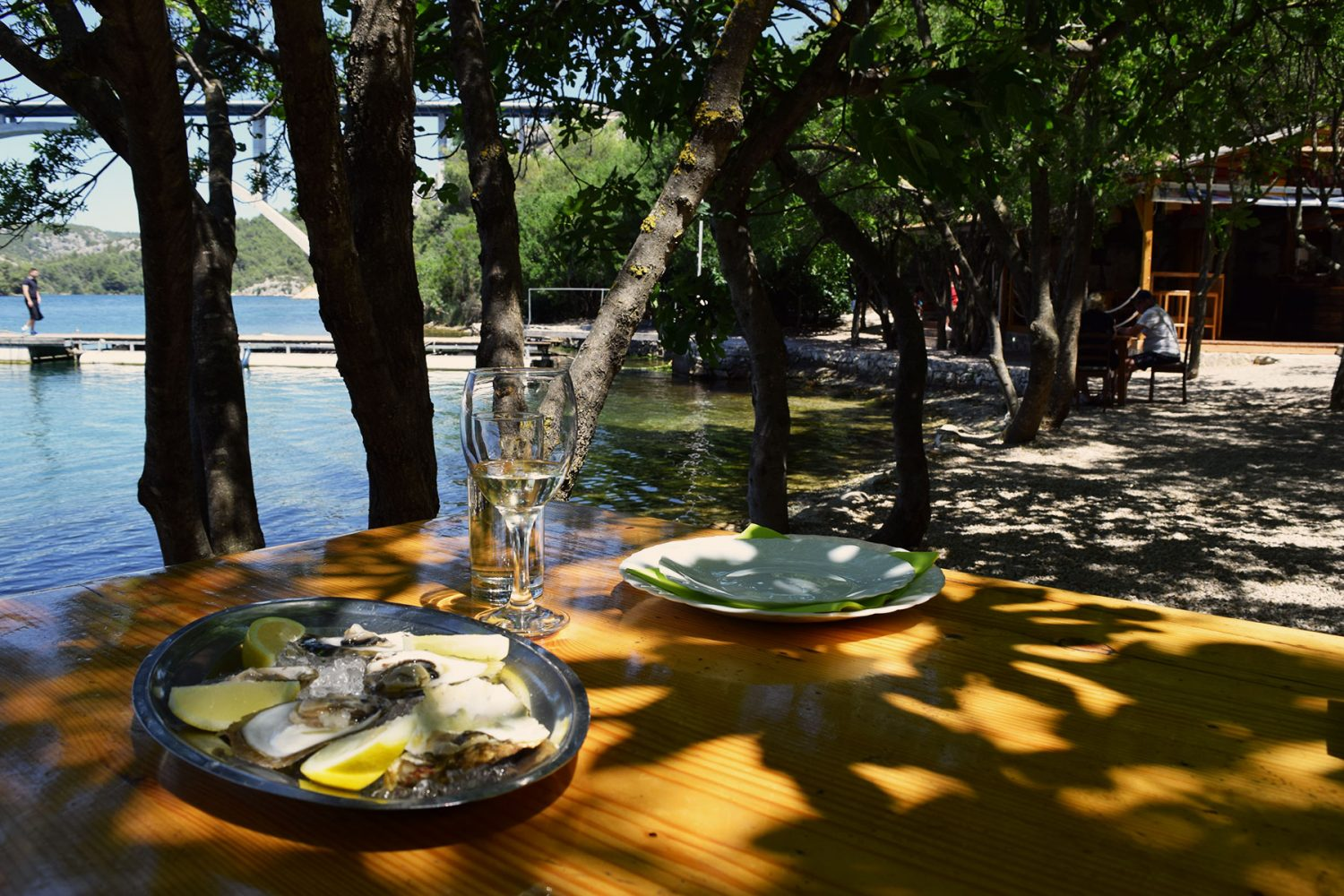Archipelago Tours Krka Experience Private tour - Krka Experience Private Boat Tour photo of a table with wine and food in the shades of the trees in front of Vidrovača tavern
