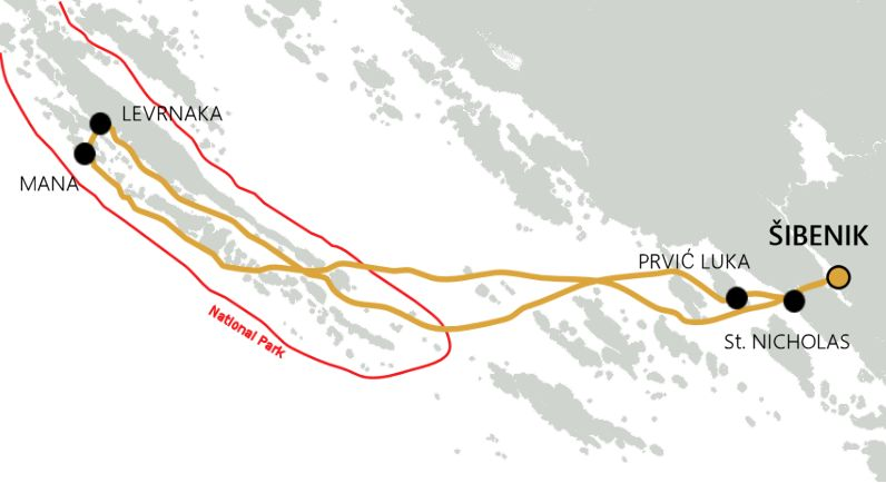 Archipelago Tours boat tour - map Kornati Experience tour