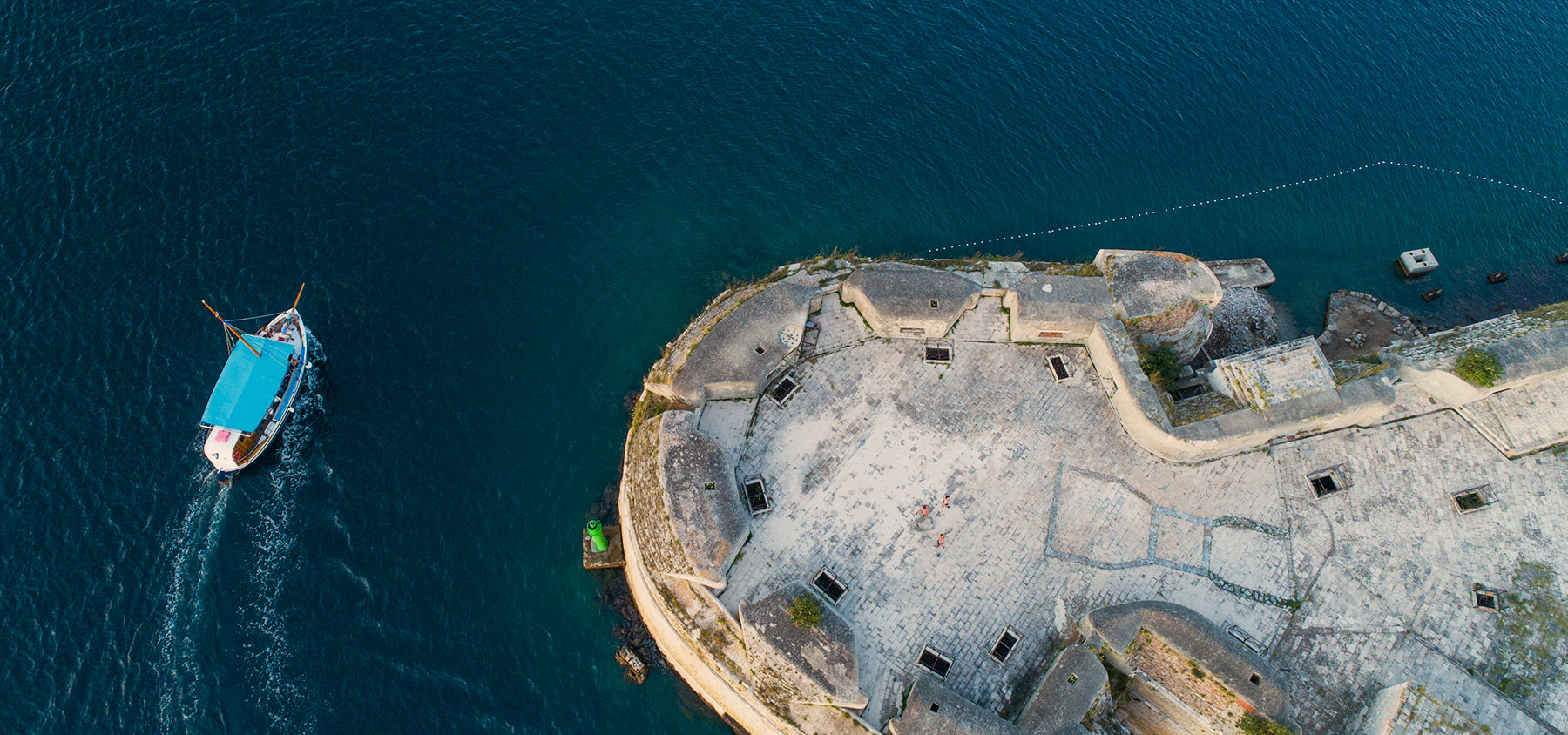 Aerial photo of the big boat taken next to the fortress of Saint Nicholas'