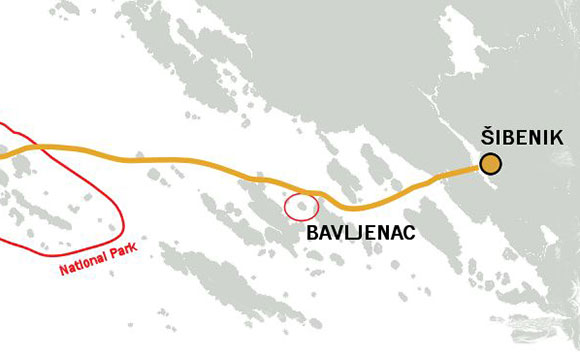 Archipelago Tours Blog and Tips: Islands at your fingertips - map showing distance from Šibenik to siland of Bavljenac